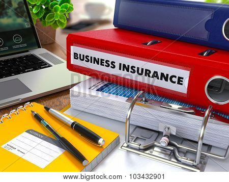 Red Ring Binder with Inscription Business Insurance.