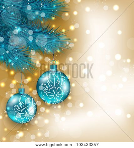 New Year decoration with  hanging balls on fir twigs