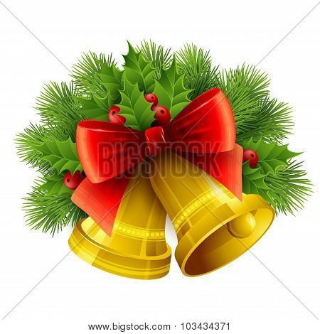 Christmas decoration  with evergreen trees, holly  and bells. Vector illustration