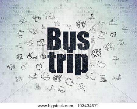 Tourism concept: Bus Trip on Digital Paper background