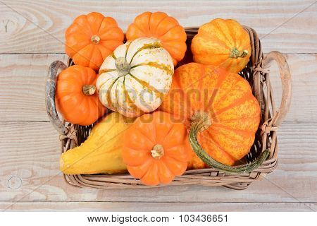 Basket of Autumn decorative pumpkins and gourds on white wood table.