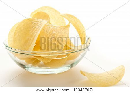 Potato Chips In A Glass Bowl