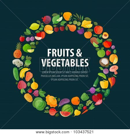 fruits and vegetables vector logo design template. food or harvest icons