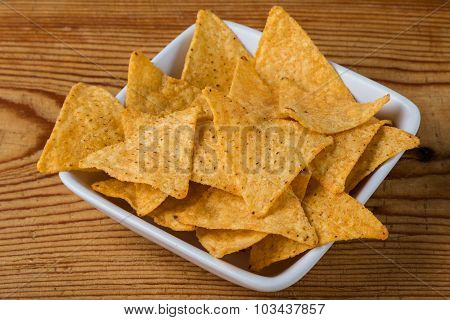 Tortilla Chips On A Wooden Table