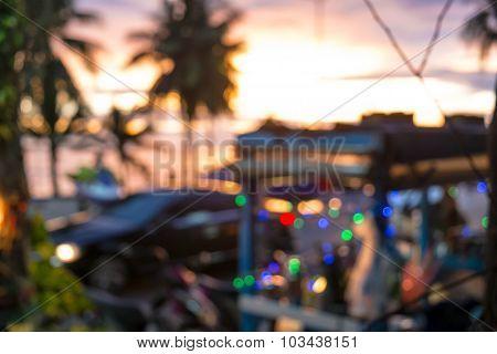 Blurred Bokeh of kiosk at the beach