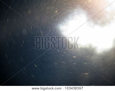 Light Abstract Space, Cosmos, Universe Background With Floating Dust