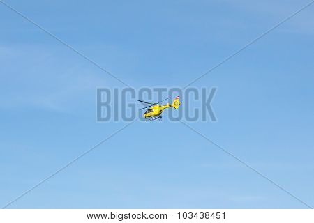 Flying Emergency Rescue Helicopter
