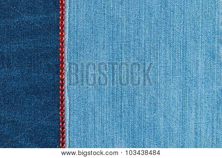 Fashionable background,  jeans and red  rhinestones