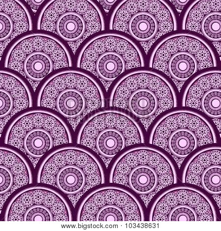 Vector abstract background with light pink and dark rose rounds of different sizes with purple strok