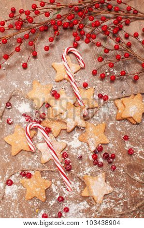 Butter cookies and candy cane for Christmas