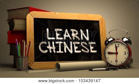 Learn Chinese - Chalkboard with Hand Drawn Text.