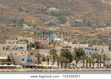 Paros, Greece 10 August 2015. Paroikia at Paros island landscape. A beautiful tourist destination.