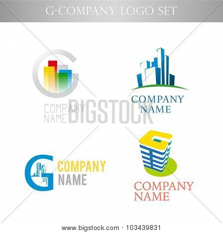 Vector stylish logo collection for urban building office company isolated on white background.