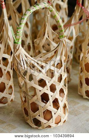 Egg In Rattan Bag