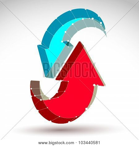 3d mesh stylish web update sign isolated on white background, colorful lattice renew icon