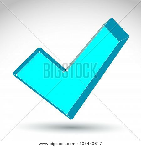 3d mesh colorful validation sign isolated on white background, stylish checkmark icon