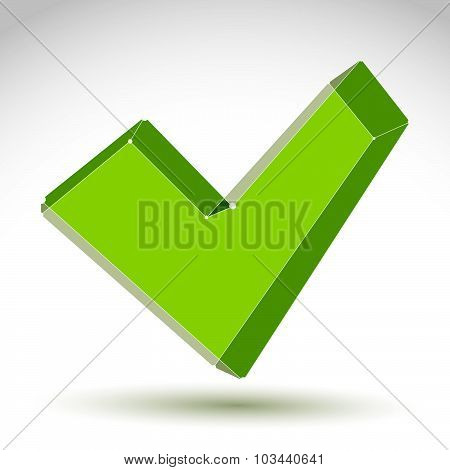 3d mesh colorful validation sign isolated on white background, stylish ecology checkmark icon