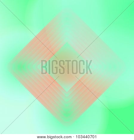 Vector orange and green geometric background. Backdrop with centered rhombs. Package design. Poster