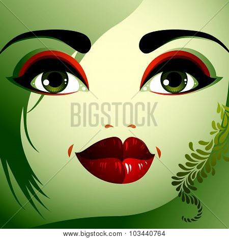 Parts of the face of young beautiful lady with bright make-up, lips, eyes and eyebrows. People