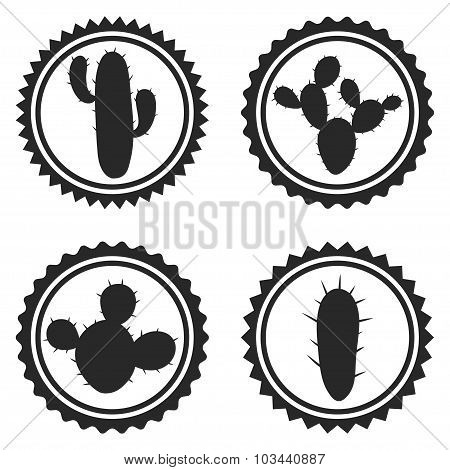 Collection of label and badges with stylized cactuses