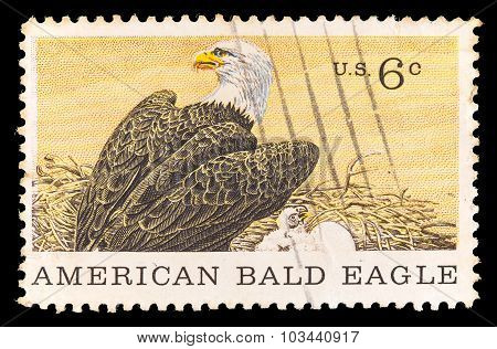 United States Postage Stamp Showing American Bald Eagle