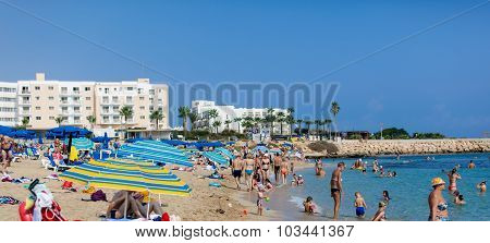 Beach with a lot of people in Cyprus, Protaras
