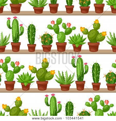 Seamless pattern of abstract cactuses in flower pot on shelves
