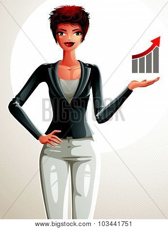 Attractive businesswoman full body portrait. Young red-haired female executive with her hand holding