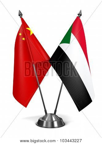 China and Sudan - Miniature Flags.