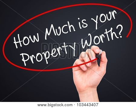 Man Hand writing How Much is your Property Worth? with black marker on visual screen.