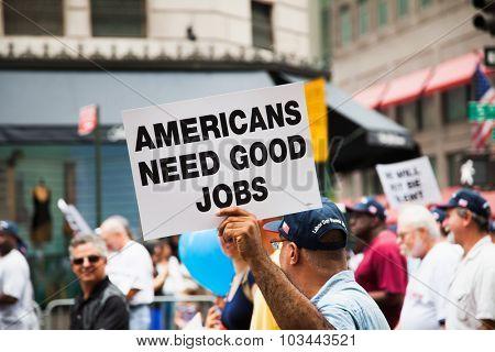 NEW YORK CITY, USA - CIRCA SEPTEMBER 2014: Labor Day Parade in New York City