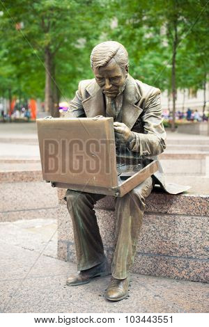 NEW YORK CITY, USA - CIRCA SEPTEMBER 2014: Double Check sculpture by John Seward Johnson II, located in Zuccotti Park in Manhattan, New York City