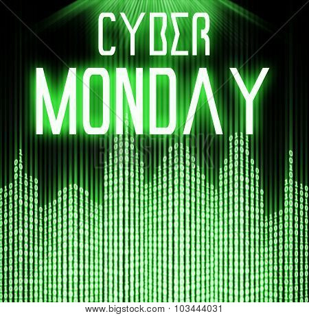 Cyber Monday With Matrix Binary Code Technology