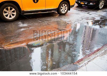 NEW YORK CITY, USA - CIRCA SEPTEMBER 2014: Bad weather in New York City
