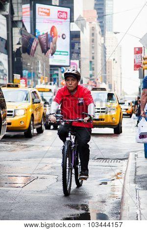 NEW YORK CITY, USA - SEPTEMBER, 2014: Bikerider on streets of New York City