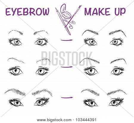 Vector hand drawn illustration of eyebrow line make up. Eyebrow style. Vector fashion sketch of girl