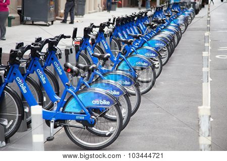 NEW YORK CITY, USA - CIRCA SEPTEMBER 2014: Rental bikes in New York City