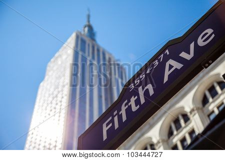 NEW YORK CITY, USA - CIRCA SEPTEMBER 2014: Empire State Building near Fifth Avenue