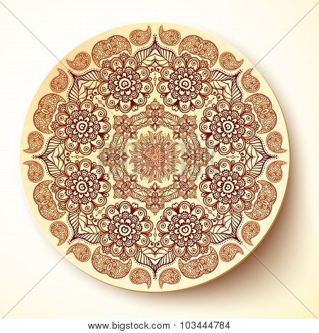 Vector plate template with Indian mehndi round ornament