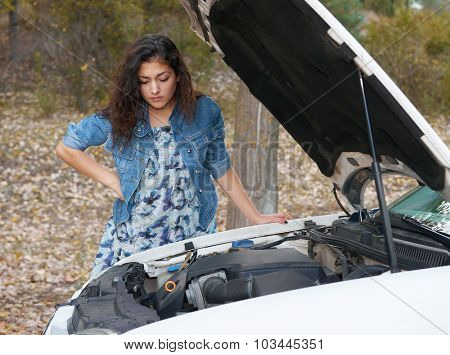 Woman with broken car wait service on road