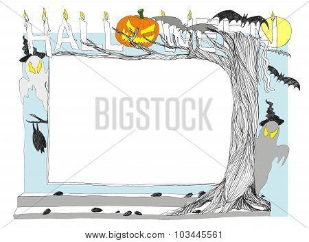 Halloween Frame Pencil Sketch 2