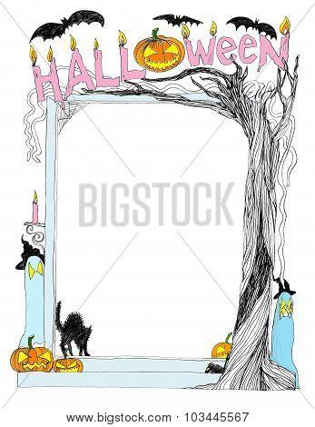 Halloween Frame Pencil Sketch