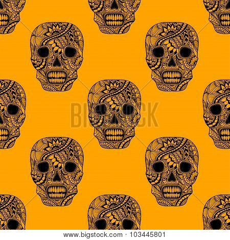 Seamless pattern with Decorate Skull painted ornament  black  on orange