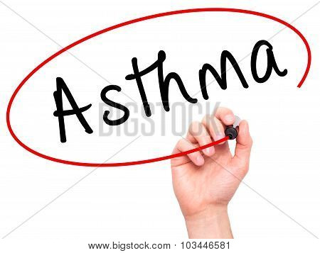 Man Hand writing Asthma with black marker on visual screen.