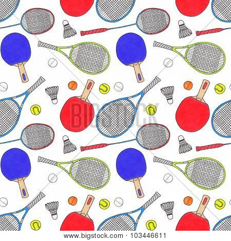 Racquets, balls and shuttlecocks.Seamless watercolor pattern with sport equipment. Hand-drawn origin