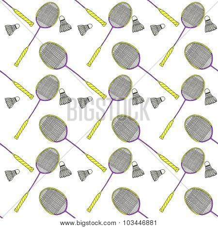 Badminton racquets and shuttlecocks. Seamless watercolor pattern with sport equipment. Hand-drawn or