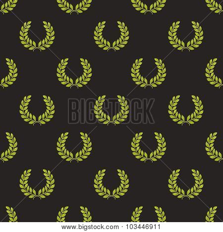 Laurel wreath. Seamless pattern with hand-drawn laureate wreath on the black background.