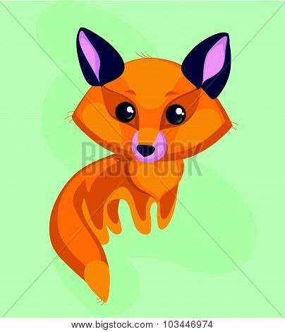 Vector flat portrait of cute little fox with big head and shining eyes isolated on green background.