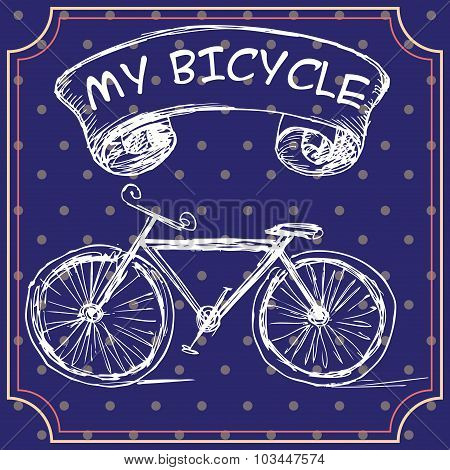 A Greeting Card Or A Postcard Template With Hand-drawn Bicycle.