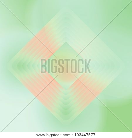 Vector orange and green geometric background. Wallpaper with centered rhombs. Package design. Poster